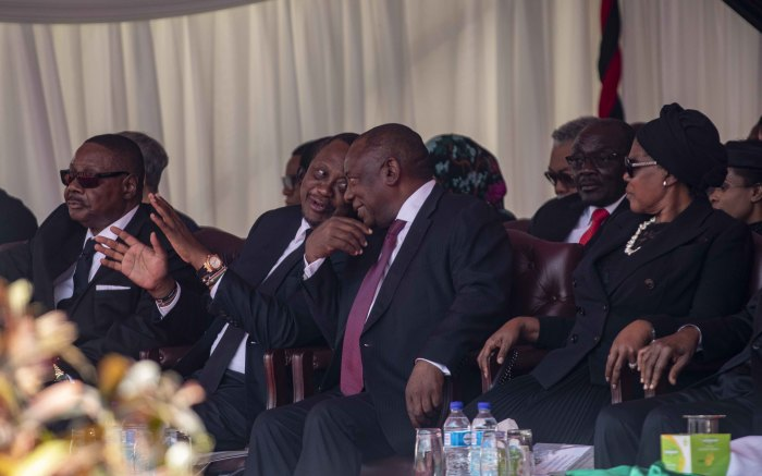 South African President Cyril Ramaphosa in the VVIP section at the National Sports Stadium.