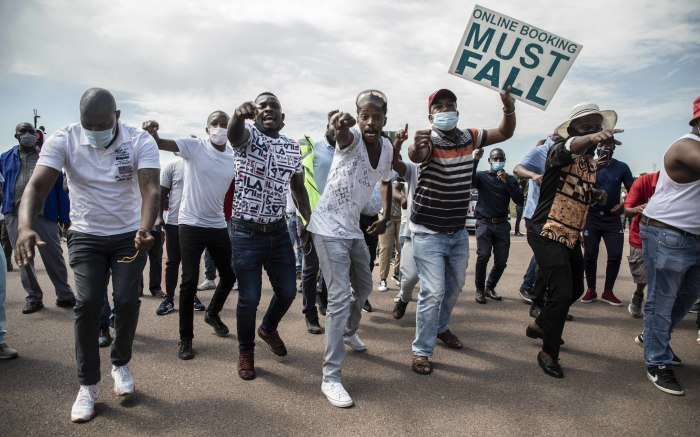Protesters were initially kept away from the RTMC offices. Picture: Abigail Javier/EWN