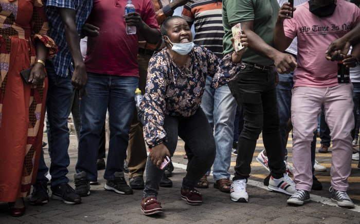 A protester in full voice. Picture: Abigail Javier/EWN