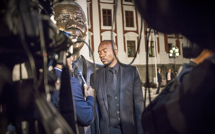 Visibly tired and frustrated, DA Parliamentary Leader Mmusi Maimane closes his eyes momentarily during and interview. Picture: Thomas Holder/EWN