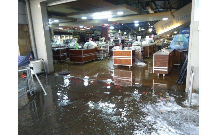 Damage seen at the Food Lovers Market in Lenasia after a heavy storm hit parts of Gauteng. Picture: Supplied.