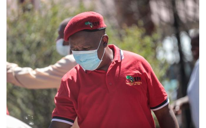 Eff leader Julius Malema arrives at the Senekal Magistrates Court.