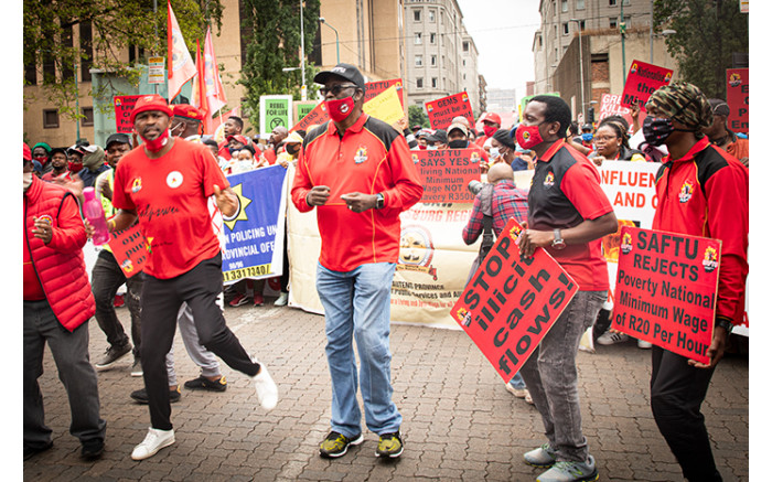 Saftu general secretary Zwelinzima Vavi marched with his supporters and members of other unions through the Johannesburg CBD. Picture: Xande