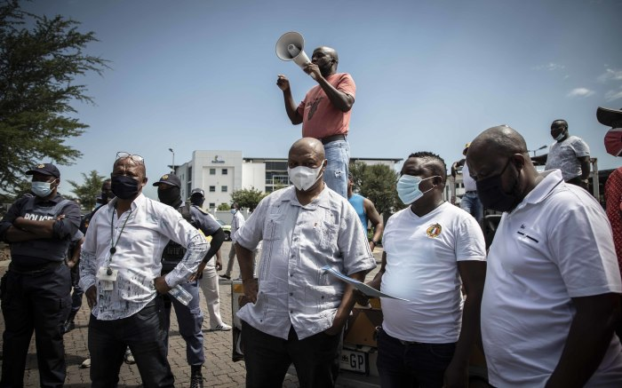 Leadership addressing the protesters near the RTMC offices where officials will accept their memorandum. Picture: Abigail Javier/EWN