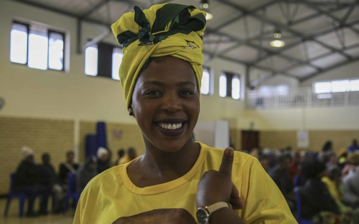 Vuyokazi Bopheka wore the bright yellow and green colours of the ANC as she cast her vote in Sir Lowry's Pass Village.