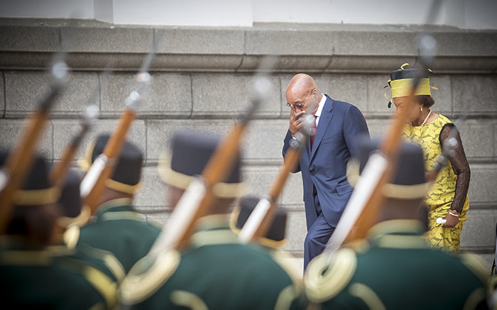 President Jacob Zuma and Parliamentary Speaker Baleka Mbete makes their way up the Parliamentary steps while the honour guard stands at attention. Picture: Thomas Holder/EWN