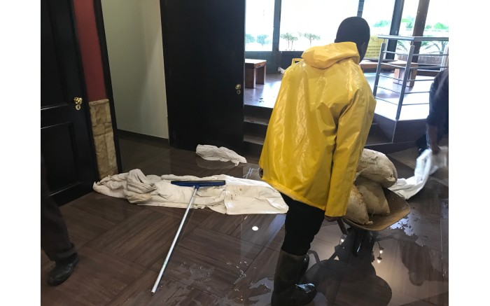 The Centurion Lake Hotel put emergency procedures in place as flooding continued in the area. Picture: Christa Eybers/EWN.