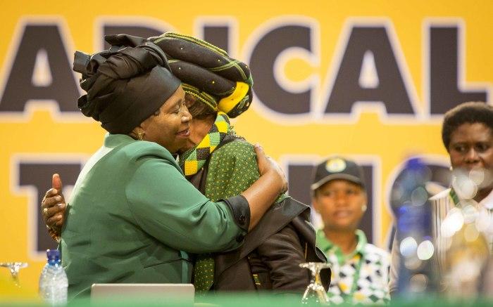 Nkosazana Dlamini Zuma embraces Winnie Mandela at the party's 54th national conference on 16 December 2017. Picture: Thomas Holder/EWN.