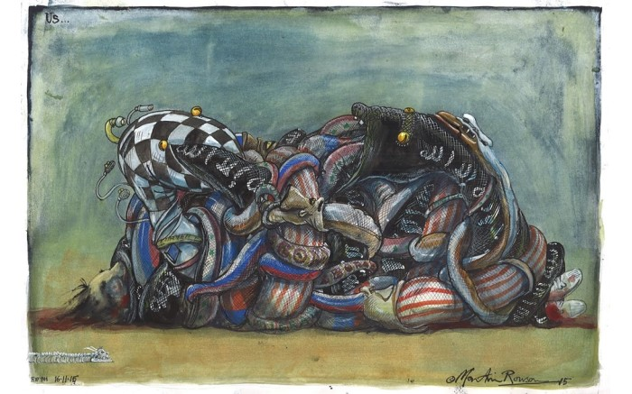 The world after the Paris attacks.  Cartoon by Martin Rowson for The Guardian.