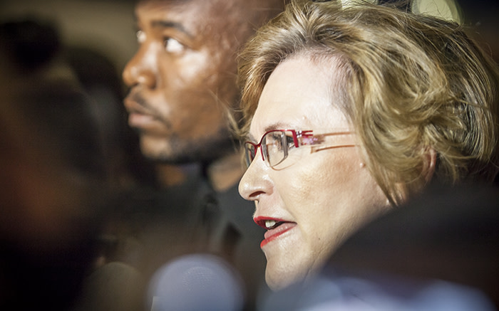 Western Cape Premier Helen Zille, along with DA Parliamentary Leader Mmusi Maimane addressed the media after the Democratic Alliance walked out of Parliament. Picture: Thomas Holder/EWN