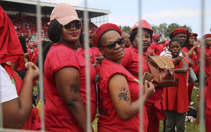 EFF supporters sport temporary tattoos in support of the party. Picture: Cindy Archillies/EWN