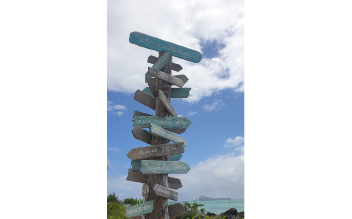 A road signseen in  Mauritius.