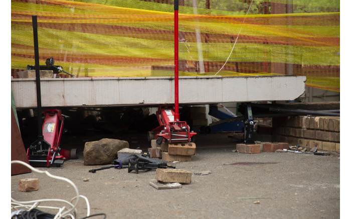 The scene where a walkway collapsed at Hoërskool Driehoek, killing 4 children in February 2019. Picture: Christa Eybers/EWN
