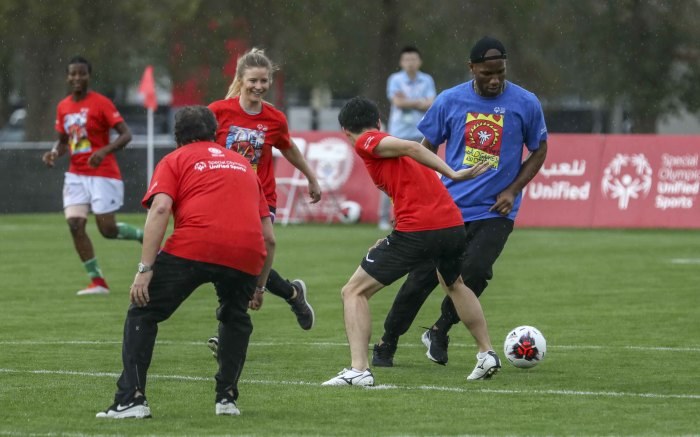 Former Chelsea striker Didier Drogba plays football with athletes from the Special Olympics in Abu Dhabi. Picture: Thomas Holder/EWN
