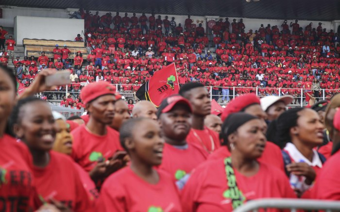 EFF supporters wait at the Philippi Stadium for party leader Julius Malema to arrive. Picture: Cindy Archillies/EWN