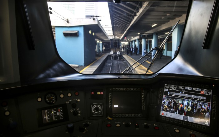Inside the train driver's seat.