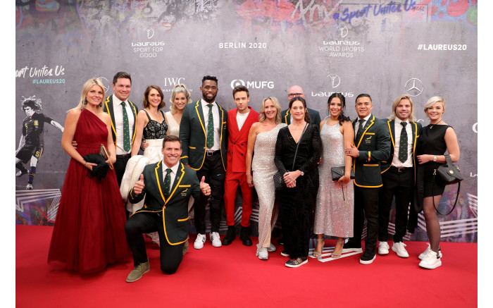 Captain Siya Kolisi (6th L), and members of Springboks at the 2020 Laureus World Sports Awards. Picture: by Andreas Rentz/Getty