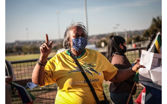 Excited fans outside the FNB Stadium for Bafana Bafana vs Ethiopia in a 2022 FIFA World Cup qualification match. Picture: Abigail Javier/EWN