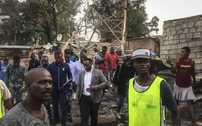 Pastor Shepherd Bushiri walks around Alexandra following a fire burnt more than 100 shacks to the ground. Photo: Ahmed Kajee/EWN