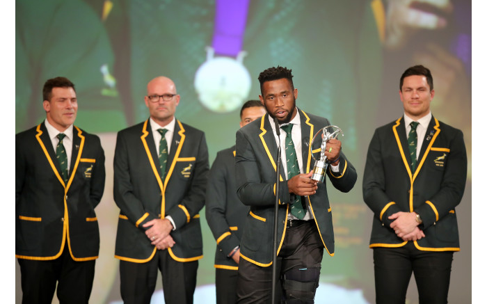 Bok captain Siya Kolisi accepts the Laureus World Team of the Year award on behalf of his team. Picture: Picture: by Andreas Rentz/Getty