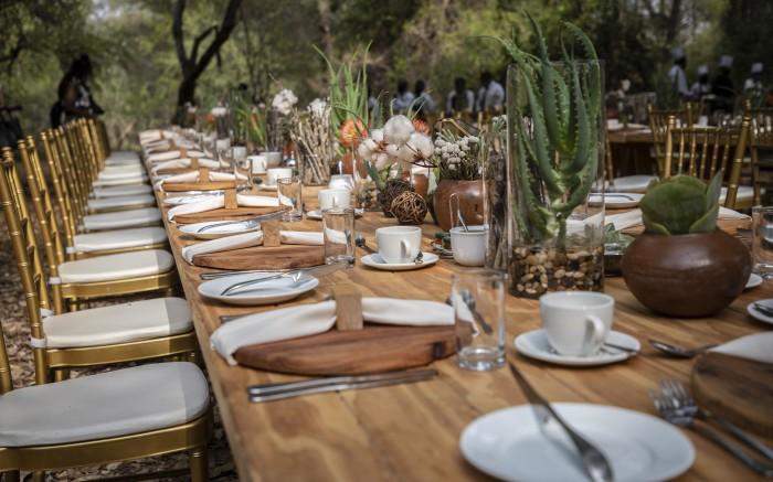 Breakfast under the the bush near the Limpopo River.