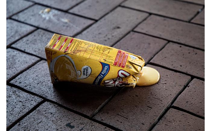 Spilled carton of custard.  Picture: Xanderleigh Dookey Makhaza/Eyewitness News