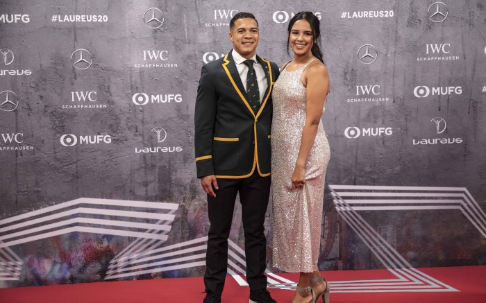 Cheslin Kolbe with his wife Layla on the red carpet of the Laureus World Sports Awards 2020 in Berlin, Germany. Picture: Abigail Javier/EWN