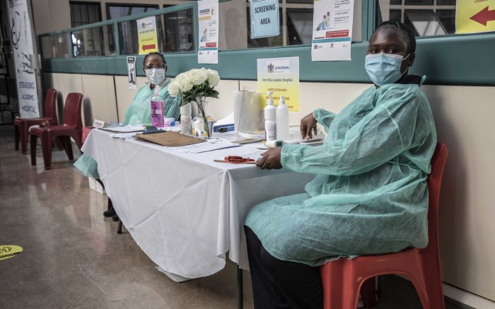 Registration table at the Steve Biko Hospital vaccination centre. Picture: Abigail Javier/EWN