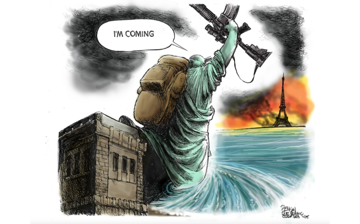 We're coming, Paris!  Cartoon by Steve Benson for The Arizona Republic