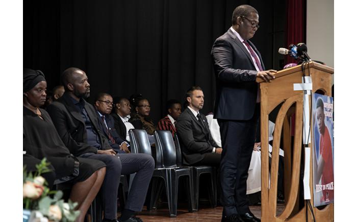 Gauteng Education MEC Panyaza Lesufi at the memorial service.  Xanderleigh Dookey/EWN