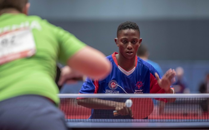 Thapelo Nxumalo, a South African table tennis player during his game against Slovenia. Nxumalo won all his games. Picture: Thomas Holder/EWN