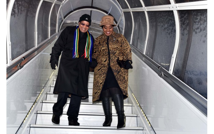 President Jacob Zuma and his wife Bongi arrive in Davos for the 2016 World Economic Forum annual meeting. Picture: GCIS