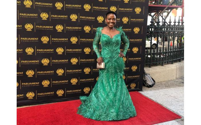Deputy Minister of Communications Pinky Kekana in a glamorous green gown.