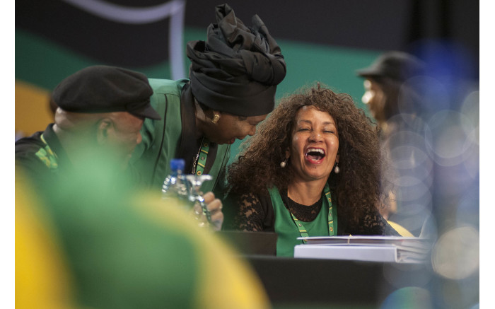 Lindiwe Sisulu shares a laugh with Dr Nkosazana Dlamini-Zuma at the start of the ANC's 54th national conference on 16 December 2017.