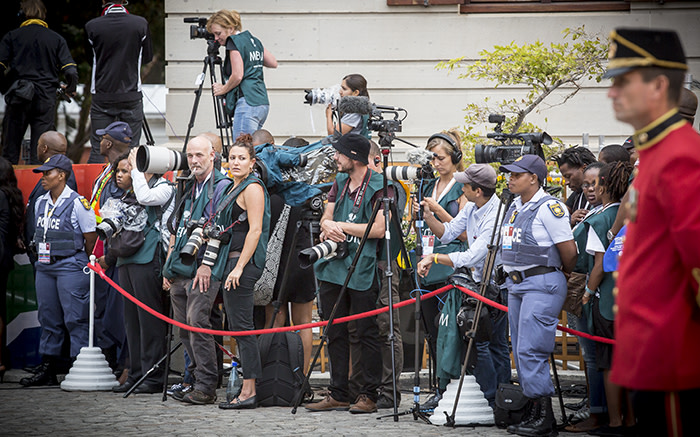 Members of the media gathered in their numbers, patiently waiting for President Zuma to arrive. Picture: Thomas Holder/EWN