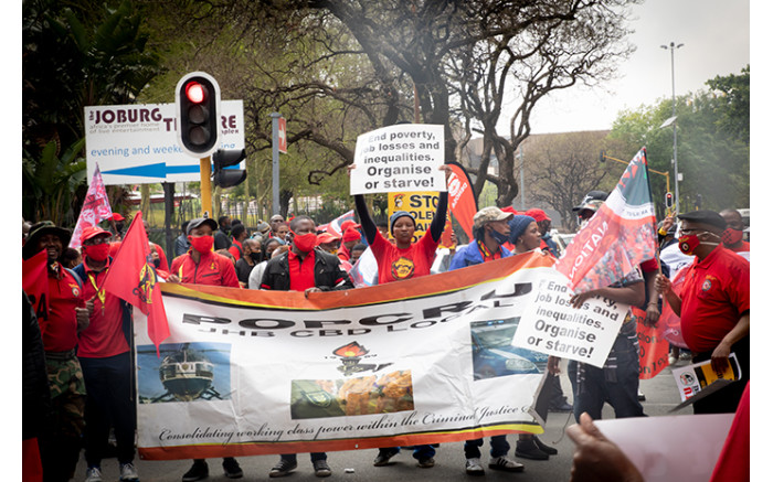 Hundreds of protesters marched in Johannesburg as part of the national protest. Picture: Xanderleigh Dookey/EWN