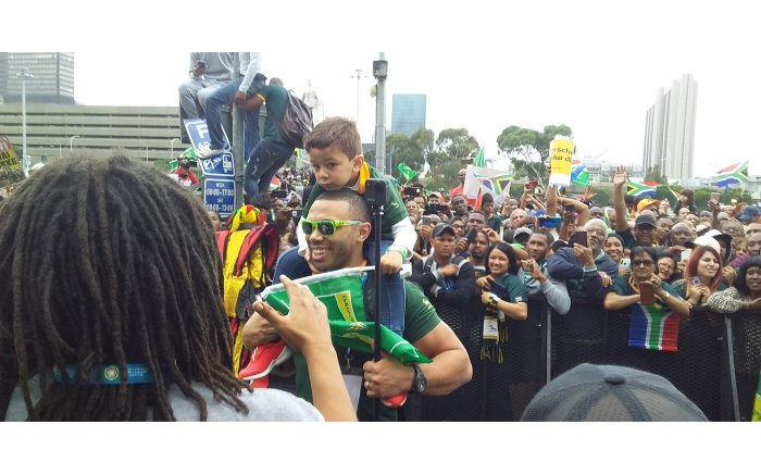 Former Springbok winger Bryan Habana at the Grand Parade. Picture: Ayanda Felem/EWN