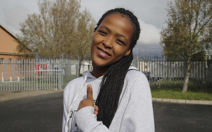 First-time voters Precious Skhosana says she hopes that whoever wins will build houses in Lwandle. Picture: Cindy Archillies/EWN.