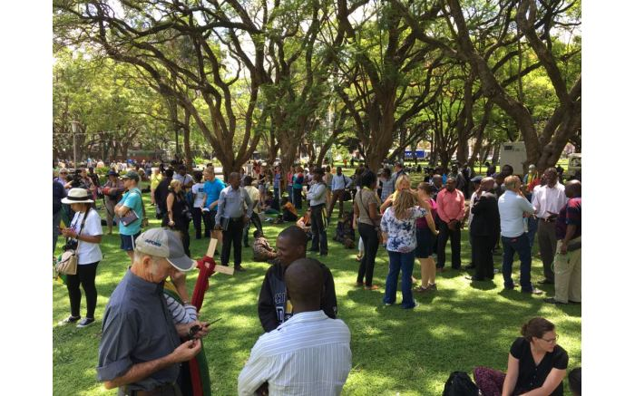People gather at Africa Unity Square in Harare for another prayer session.  Picture: Ihsaan Haffejee/EWN