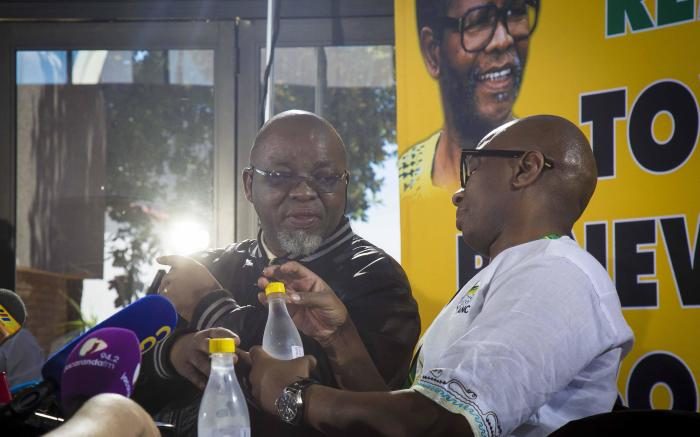 ANC secretary general Gwede Mantashe and spokesperson Zizi Kodwa before the press briefing at ANC conference. Picture: Thomas Holder/EWN