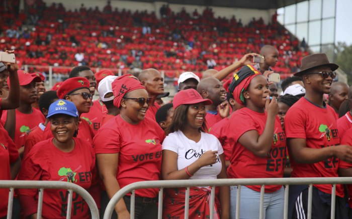 Thousands of EFF supporters gather at the Philippi Stadium near Cape Town on 30 March 2019 for the party's Western Cape manifesto rally.