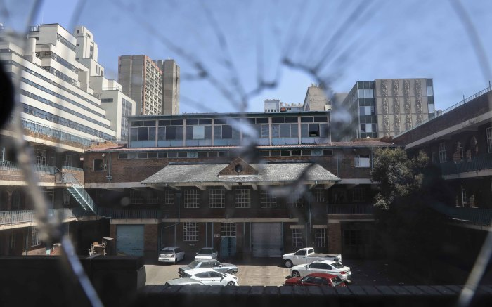 A look at the old Johannesburg central fire station through a broken window. Picture: Abigail Javier/EWN