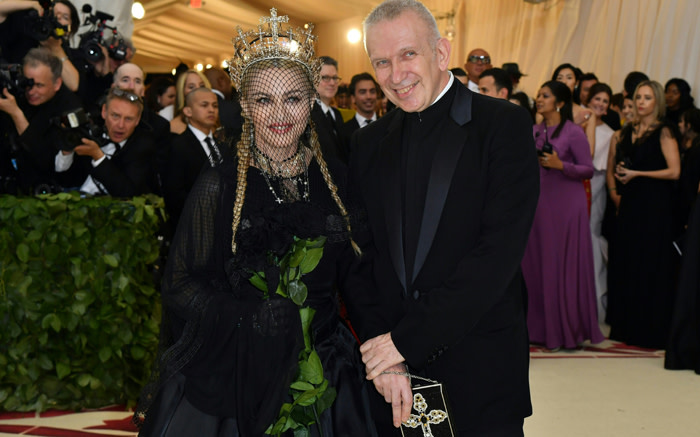 LIKE A PRAYER: Madonna and designer Jean Paul Gaultier arrive for the 2018 Met Gala.