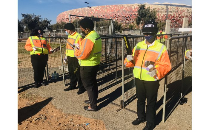 Officials at the FNB Stadium for Bafana Bafana vs Ethiopia in a 2022 FIFA World Cup qualifier. Picture: Tholakele Mnganga/EWN