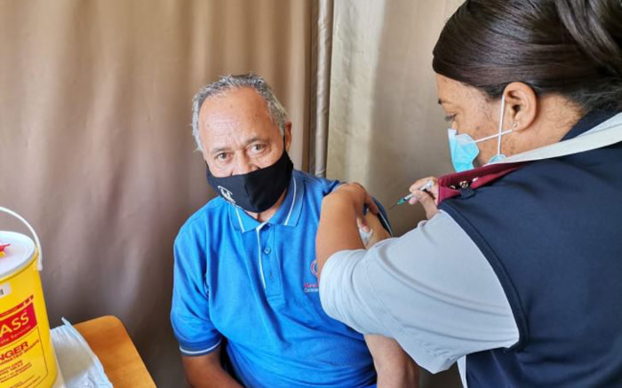 Ernest Adonis (78) from Bellville received his COVID-19 shot at Karl Bremer Hospital. Picture: Kevin Brandt