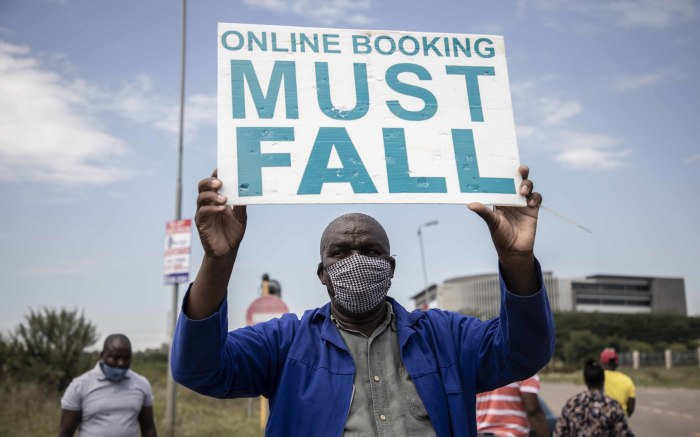 Driving school operators protested outside the Road Traffic Management Corporation offices in Centurion. Picture: Abigail Javier/EWN