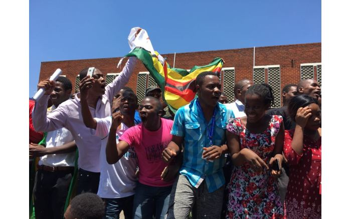 Students protest outside the Vice Chancellor office at the University of Zimbabwe.  Picture: Ihsaan Haffejee/EWN
