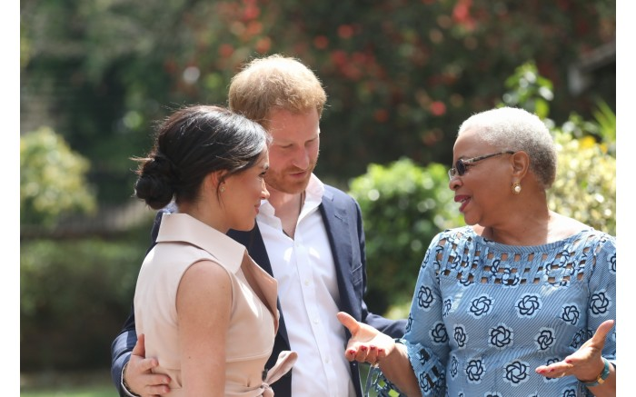 The Duke and Duchess of Sussex visit Graca Machel during a visit to South Africa in October 2019.  Picture: Kayleen Morgan/EWN