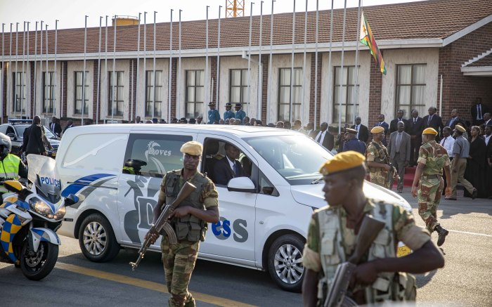 The hearse with the late former president Robert Mugabe makes its way from the strip to the airport exit where it will do a short tour.