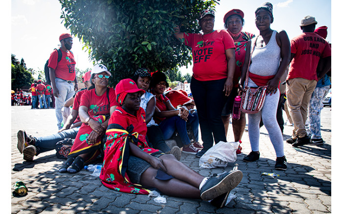 EFF supporters at the Randburg Magistrates Court.